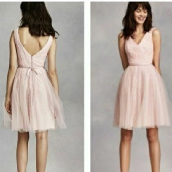 WHITE Vera Wang Light Pink Tulle Dress Bridesmaid